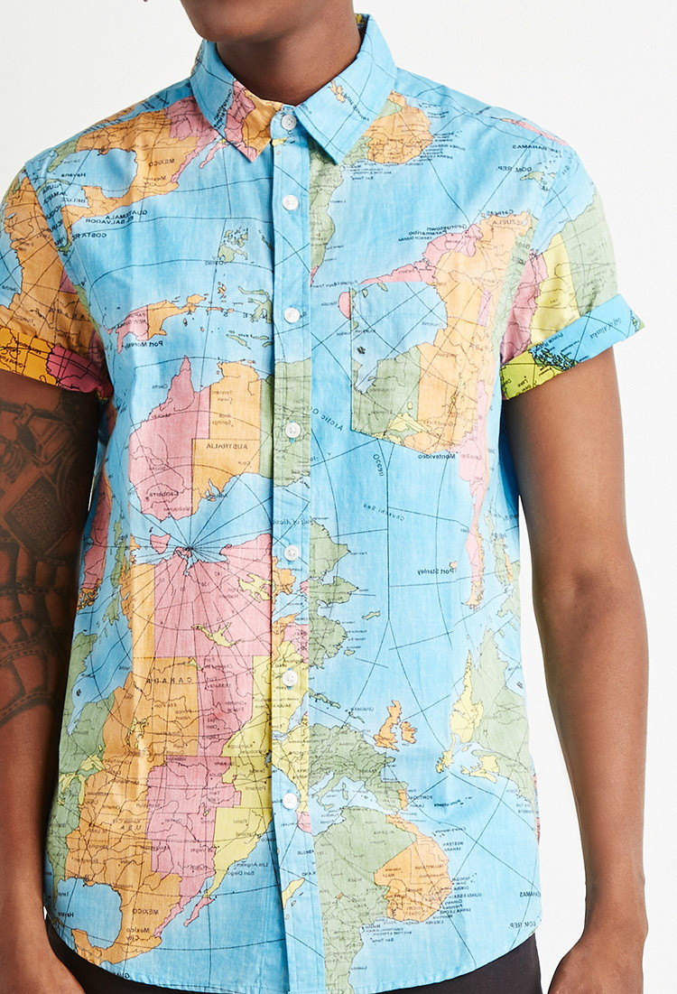 Lyst   Forever 21 Reverse Map Print Cotton Shirt in Blue for Men Gallery