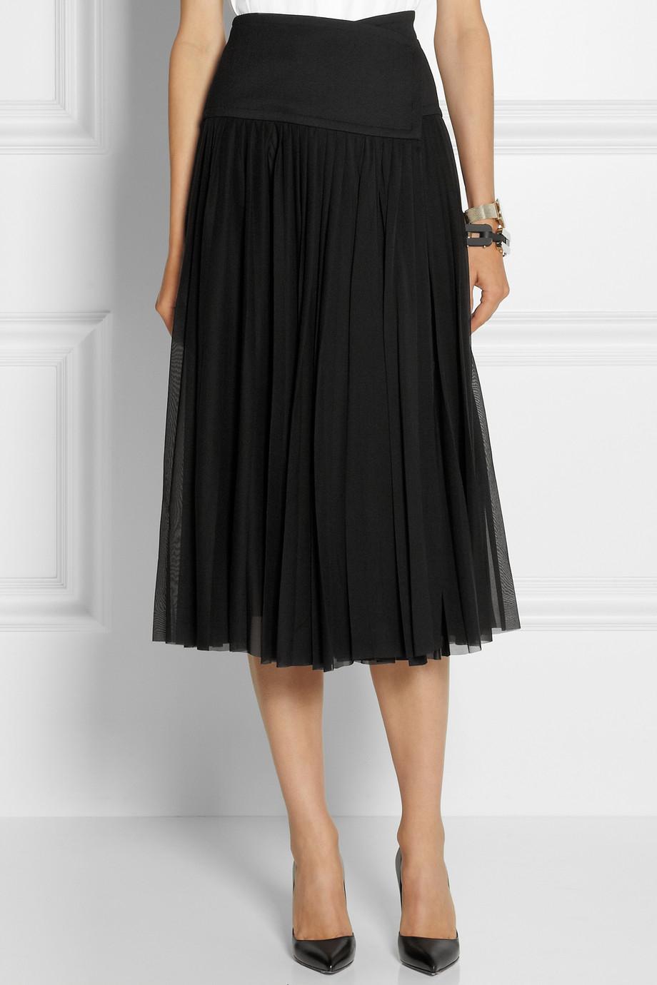 Lyst Donna Karan Pleated Stretch Silk Georgette Wrap Skirt In Black