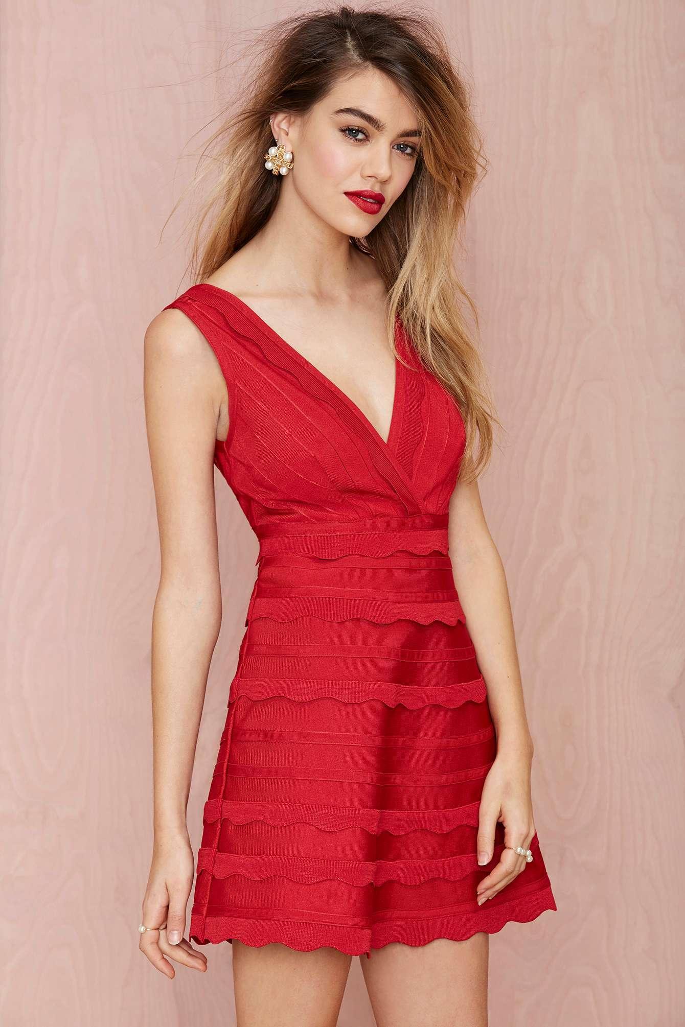 Lyst Nasty Gal Secret Love Bandage Dress In Red