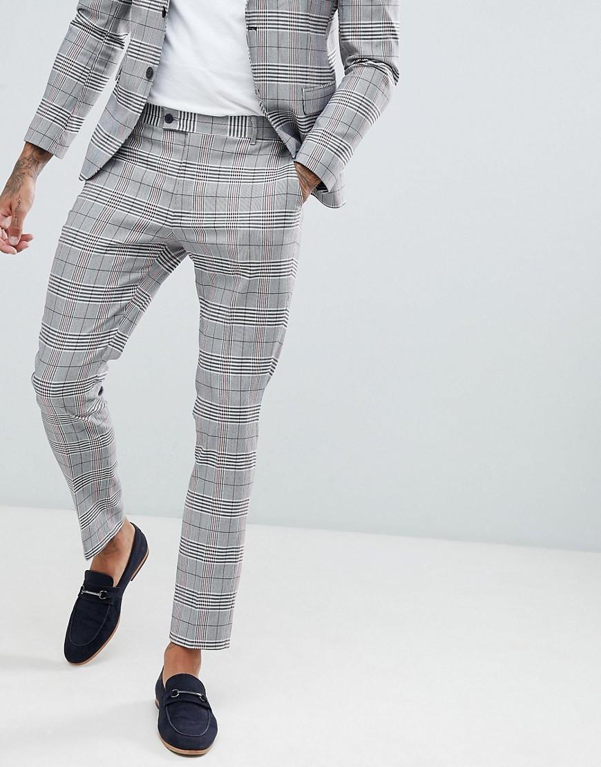 pantalon de costume slim carreaux prince de galles