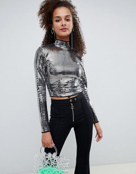 Image result for Bershka mirror high neck long sleeved top
