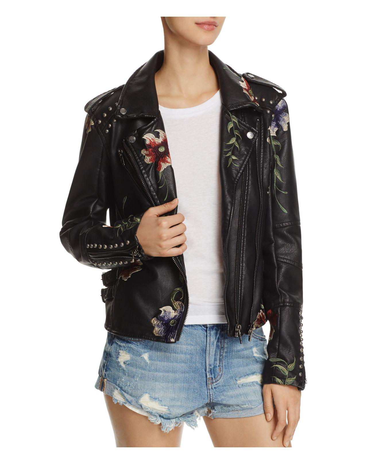 Blank NYC Floral Embroidered Studded Faux Leather Moto Jacket In Black Lyst