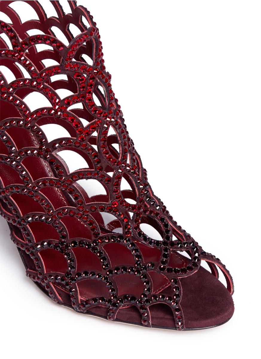 Sergio Rossi Mermaid Rhinestone Cage Sandals In Red Lyst