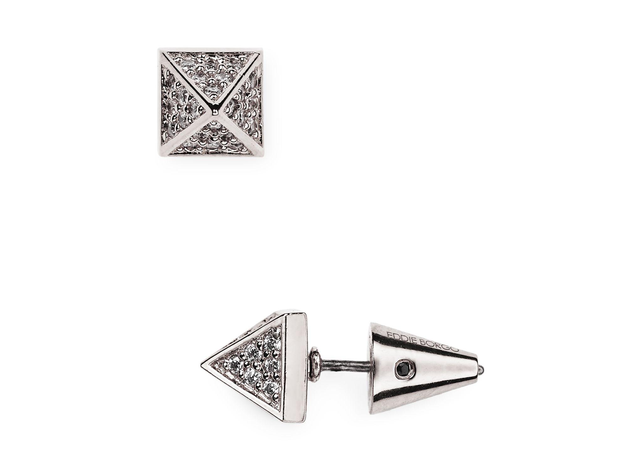 Edborgo Pave Pyramid Stud Earrings In Metallic