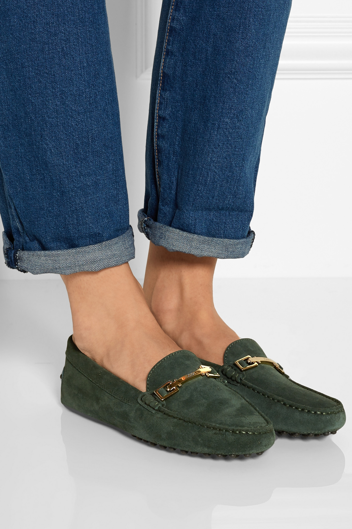 Tods Gommino Suede Loafers In Green Lyst