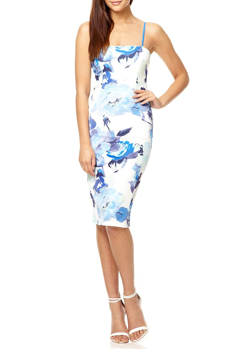 Quiz White And Blue Floral Dress