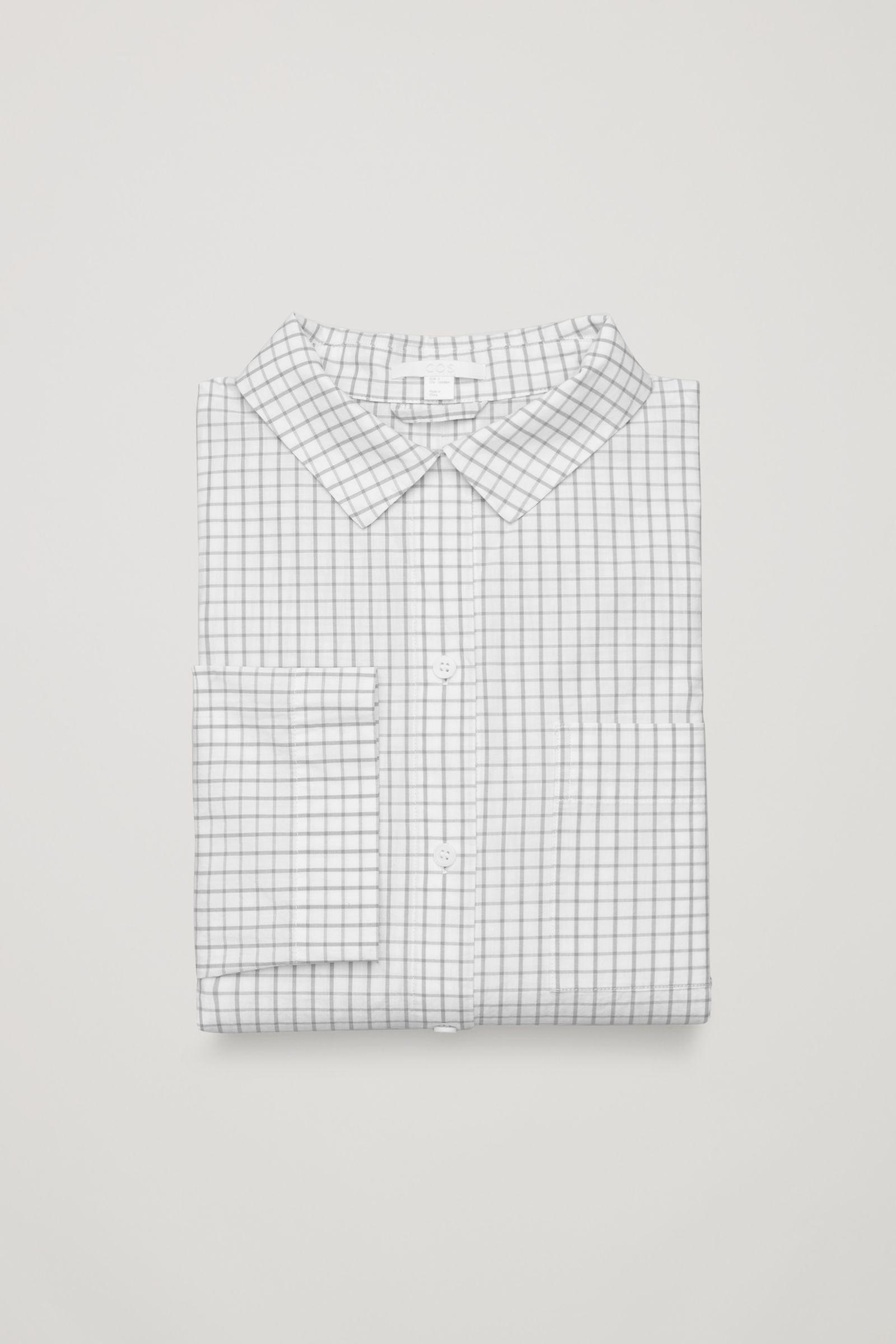 Cos Check Pyjama Shirt In Gray