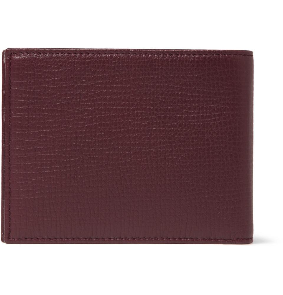 Dolce Amp Gabbana Full Grain Leather Billfold Wallet In Red