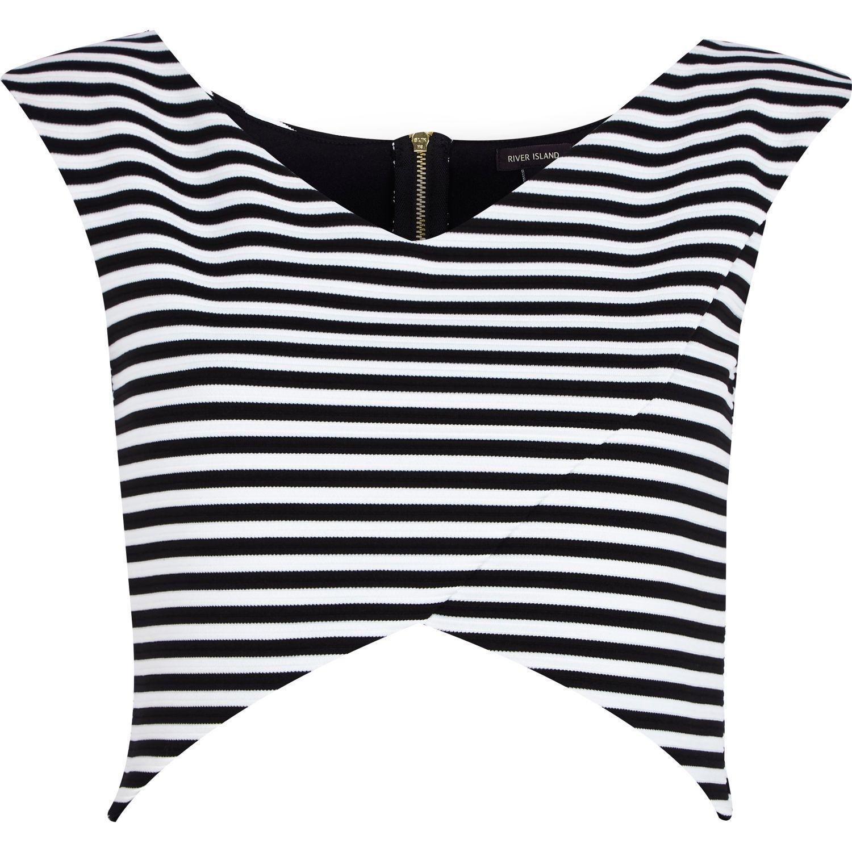 River Island Black And White Stripe Wrap Crop Top In Black