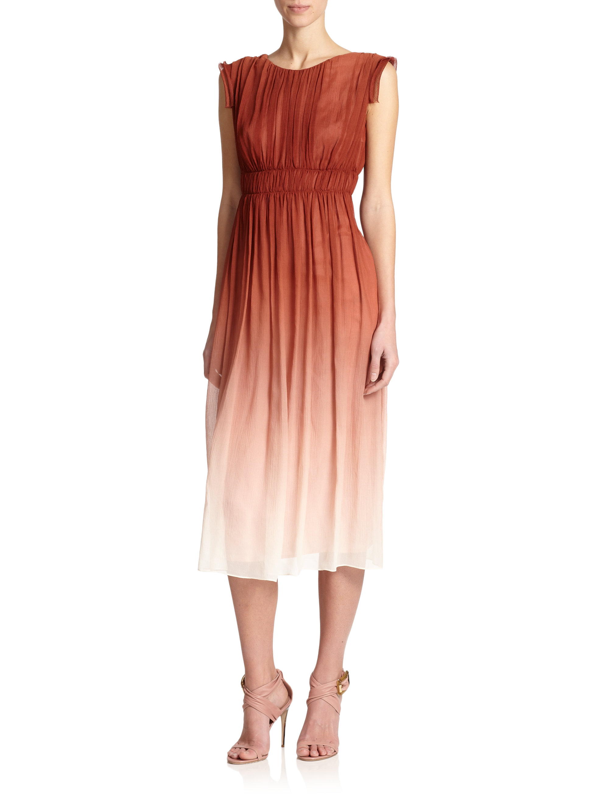 Burberry Elsie Ombr Silk Dress In Pink Lyst