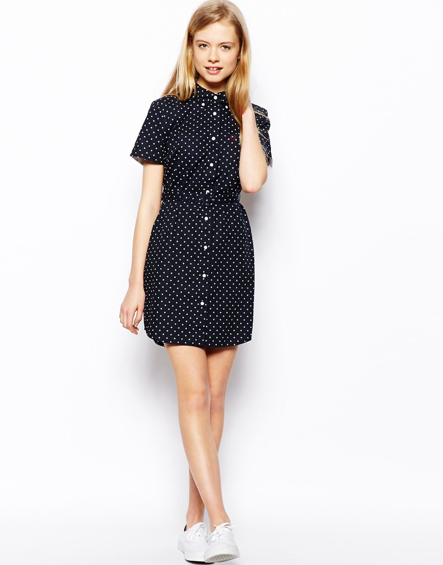 Fred Perry Spot Shirt Dress In Blue Lyst