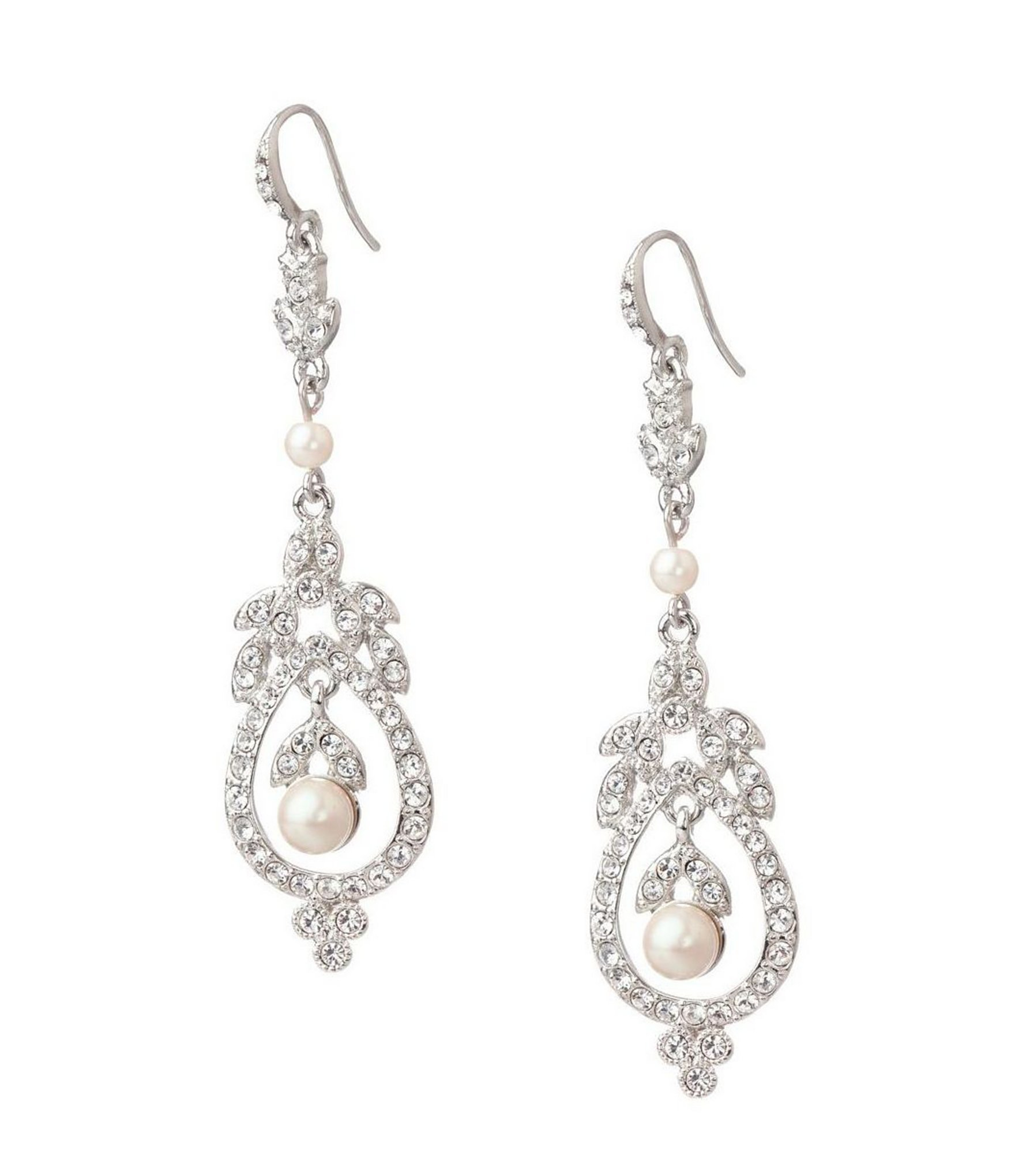 Carolee Pearl And Crystal French Wire Earrings In Metallic