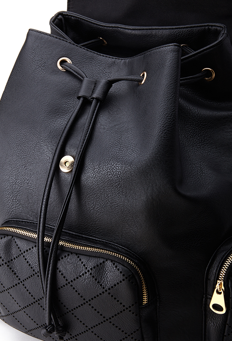 Forever 21 Laser Cut Faux Leather Backpack In Black Lyst