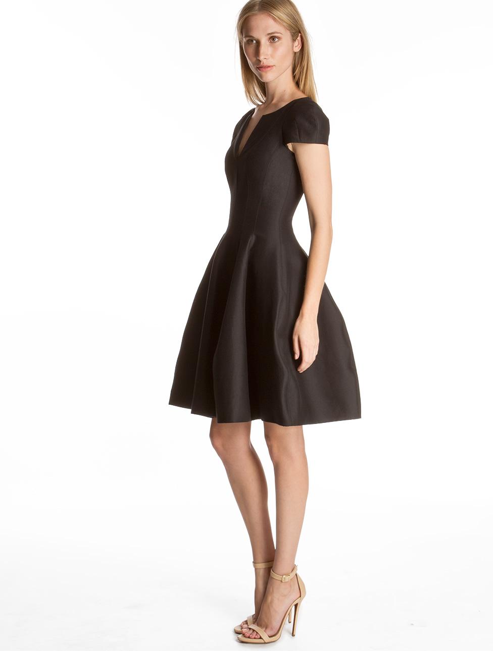 Halston Structured Silk Faille Dress In Black Lyst