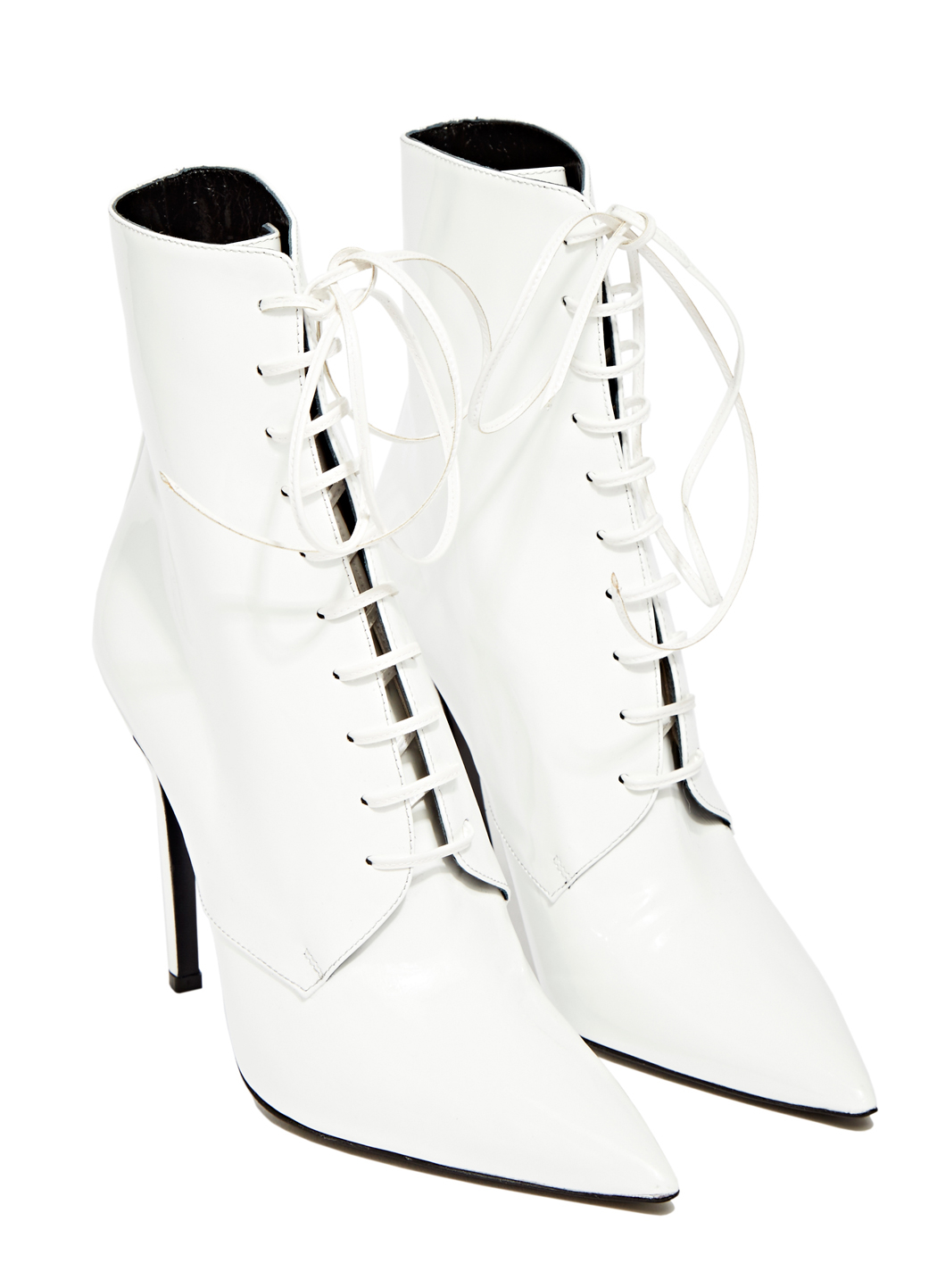 Yang Li Patent Leather Lace Up Boots In White