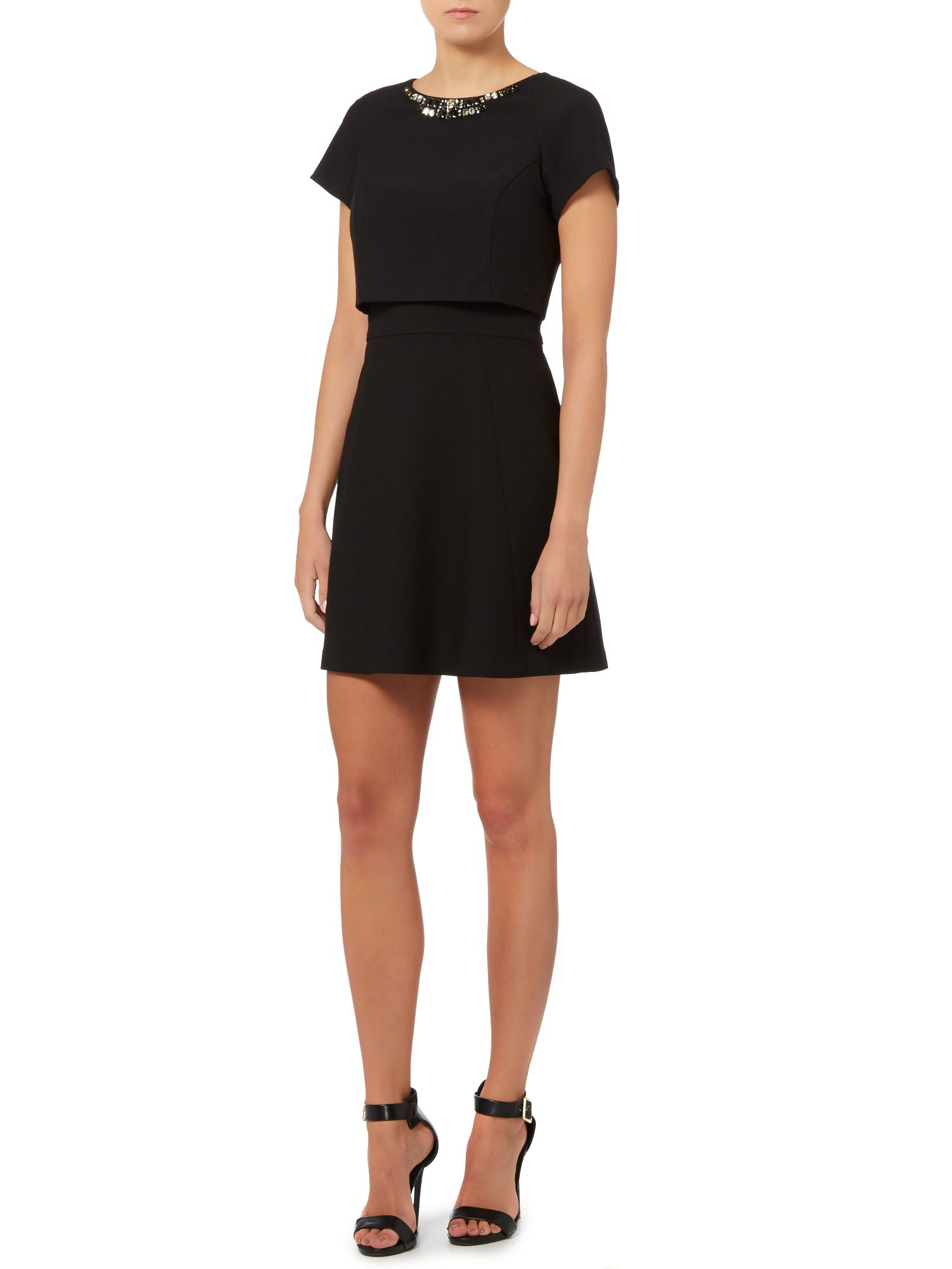 Vince Camuto Double Layer Cap Sleeve Dress With Neck