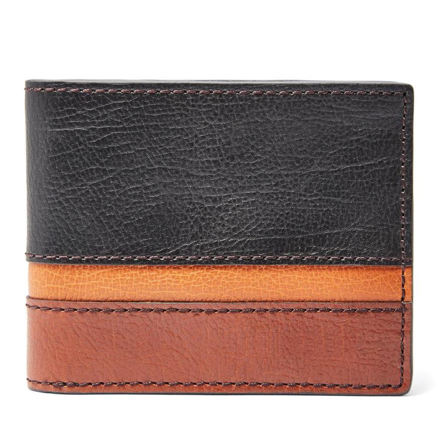 Fossil Easton Rfid Traveler Wallet Black Multi in Black ...