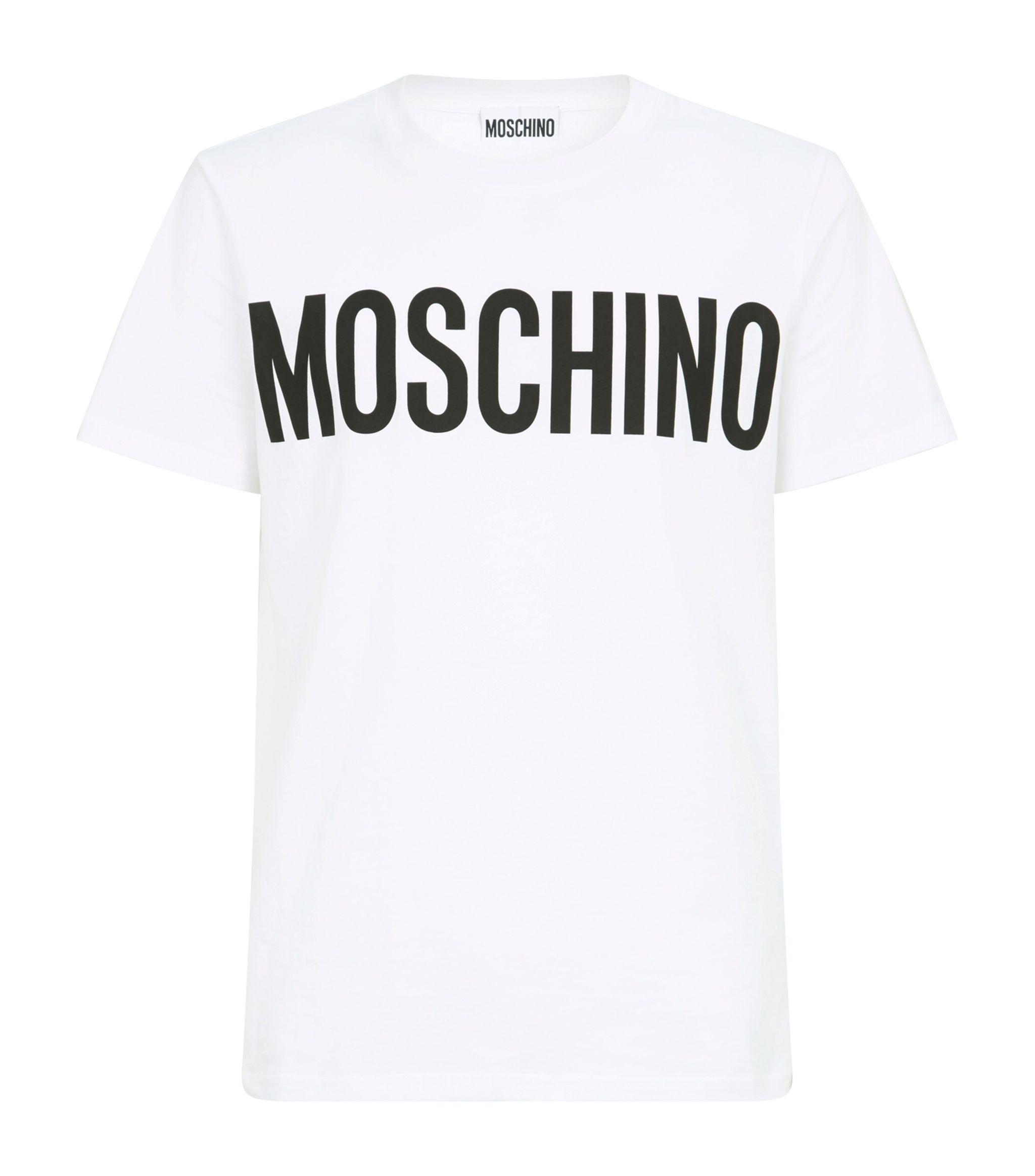 Moschino Cotton Logo Print T Shirt In White For Men