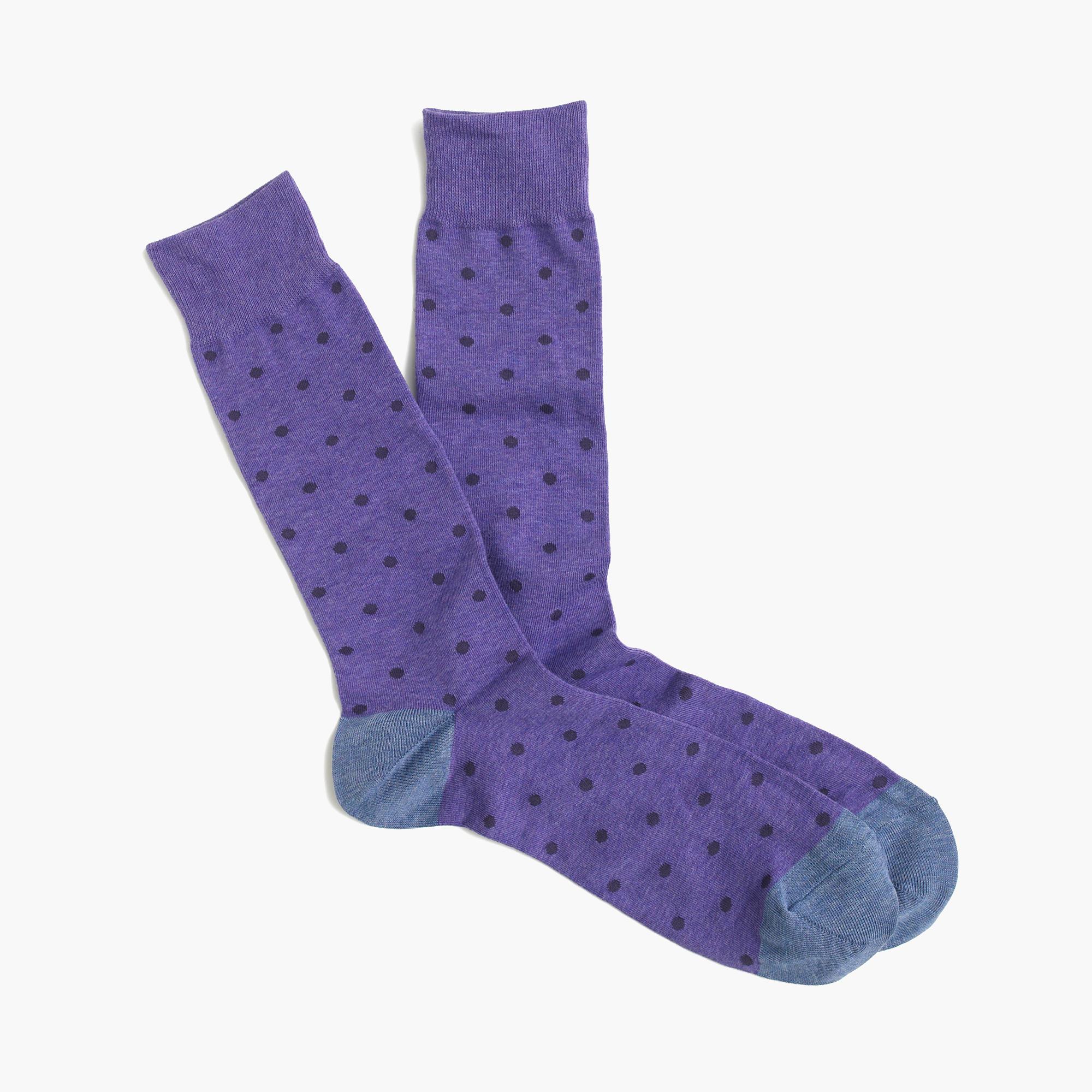 Lyst JCrew Small Dot Socks In Purple For Men