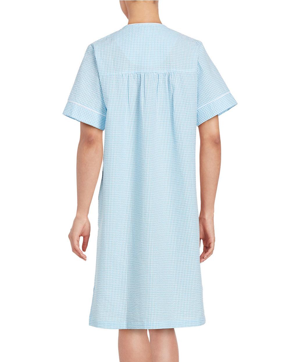 Lyst Miss Elaine Emboidered Mumu Duster Robe In Blue