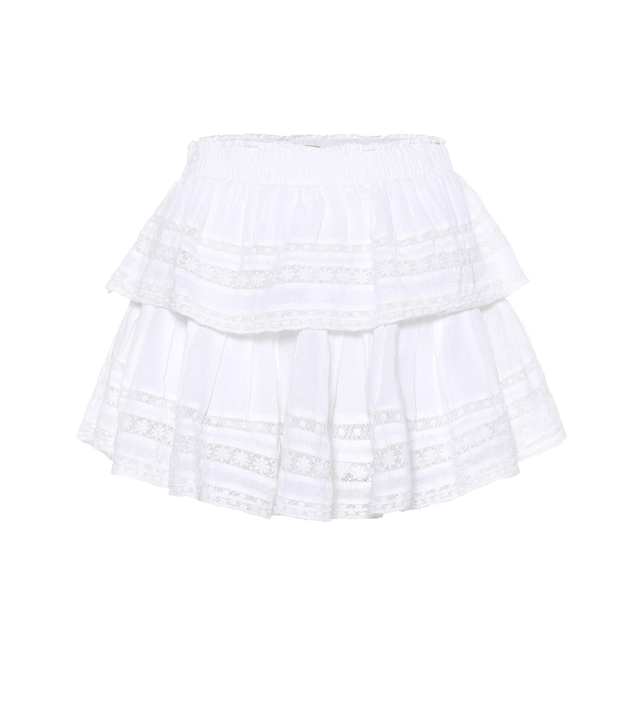 Loveshackfancy Eyelet Amp Lace Trim Cotton Miniskirt In