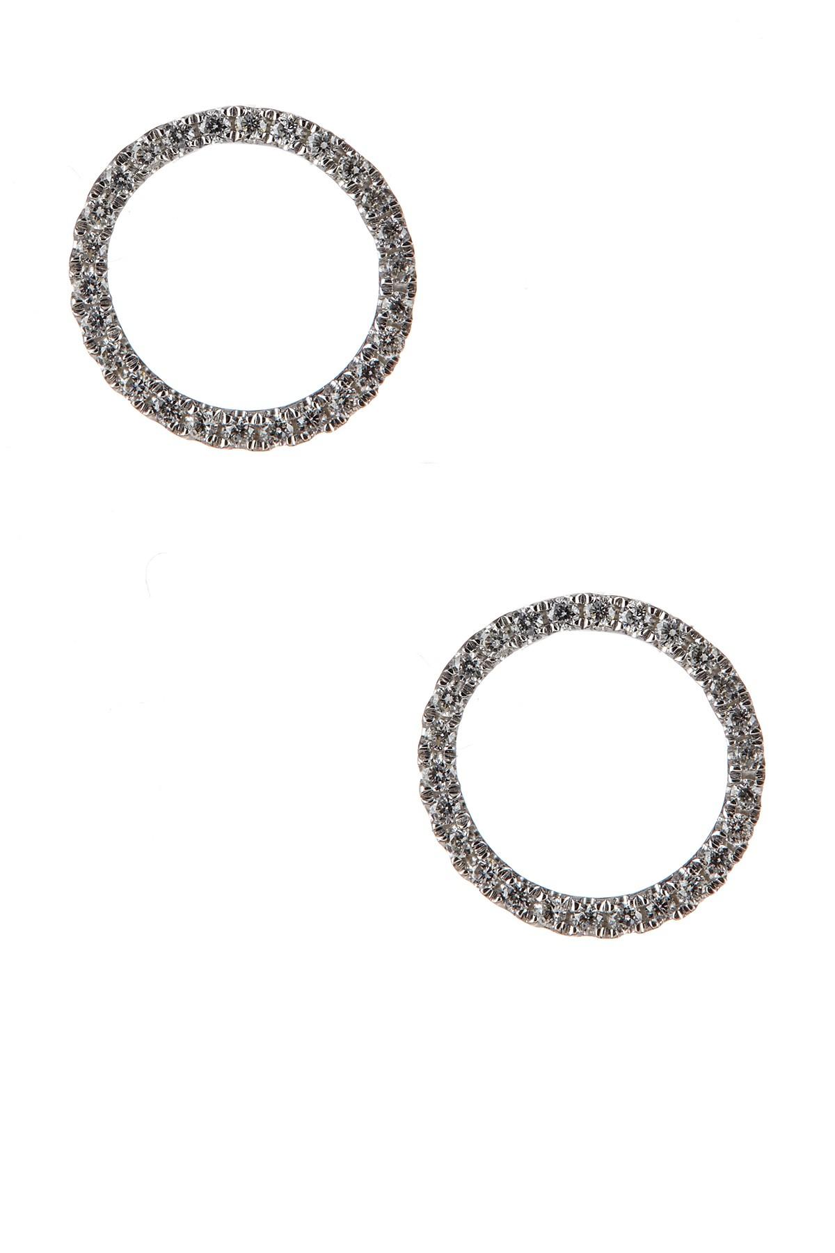 Bony Levy 18k White Gold Diamond Open Circle Stud Earrings