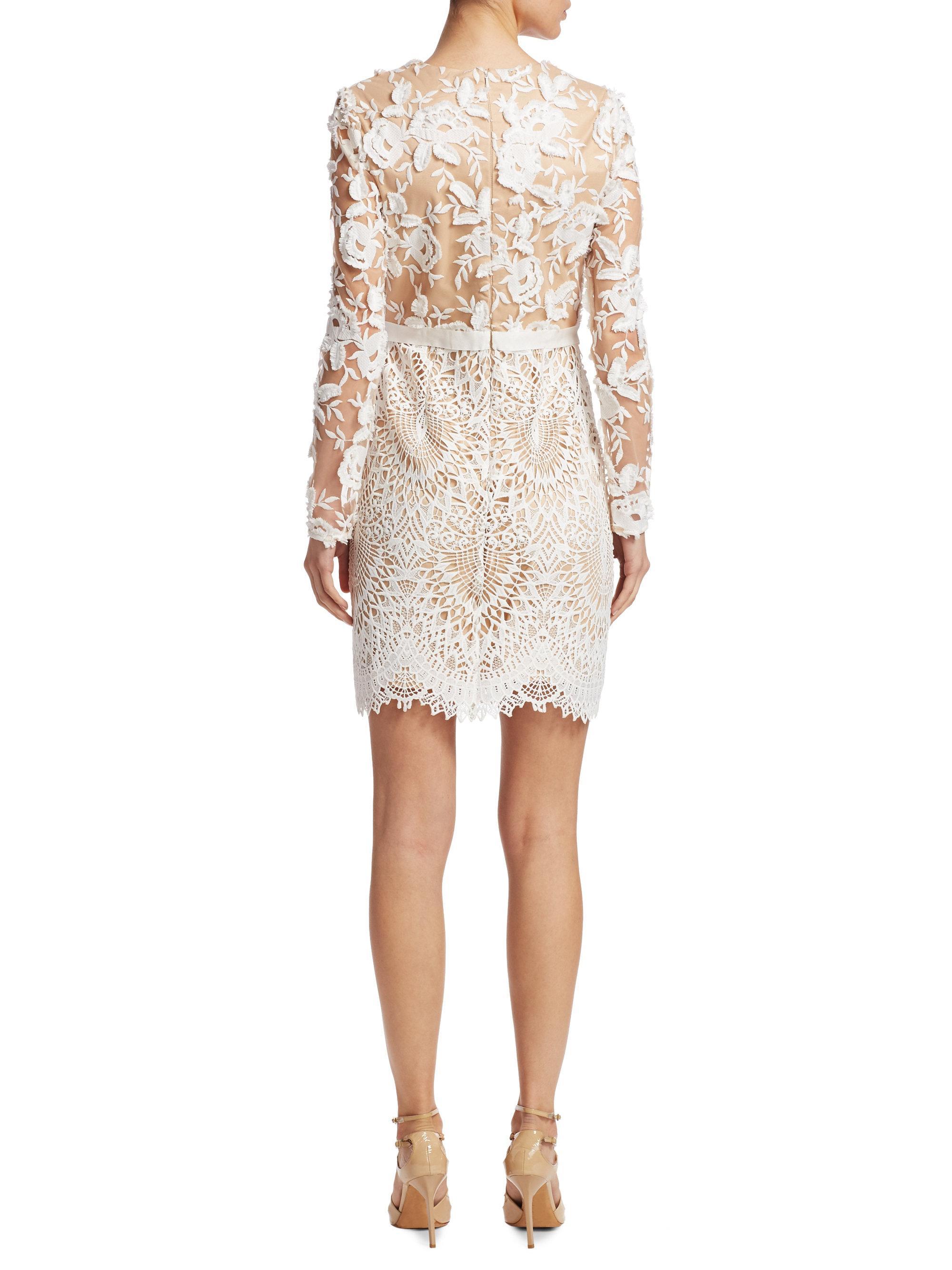 Lyst Ml Monique Lhuillier Lace Cocktail Dress In White