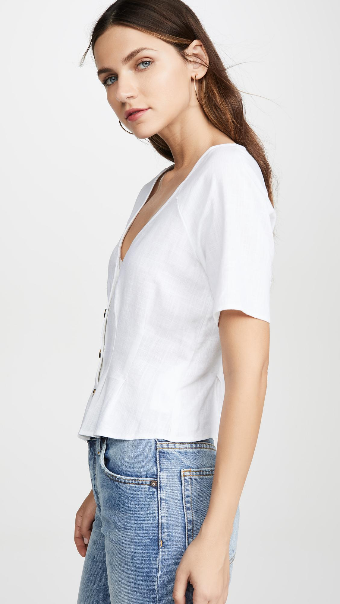 The Fifth Label Linen Lion Top In White