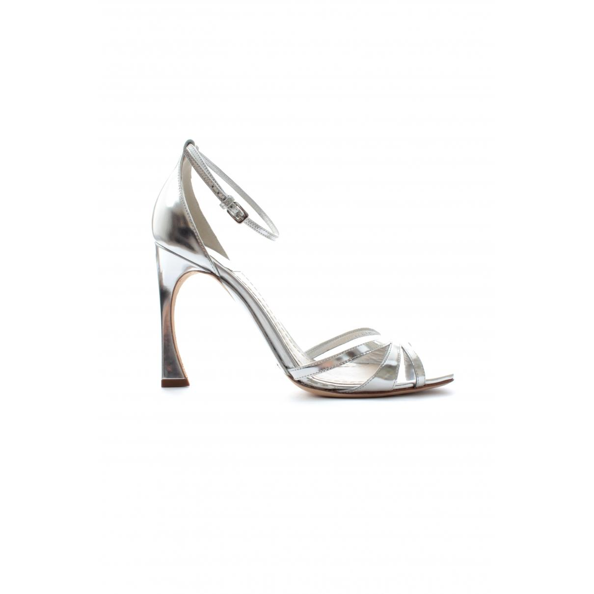 Dior Pre Owned Leather Heels In Metallic