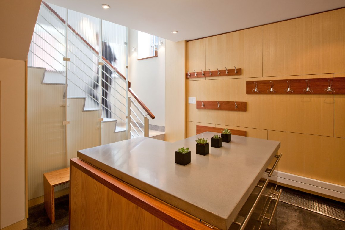 staircase as artwork: creative rethinking of a basement entry