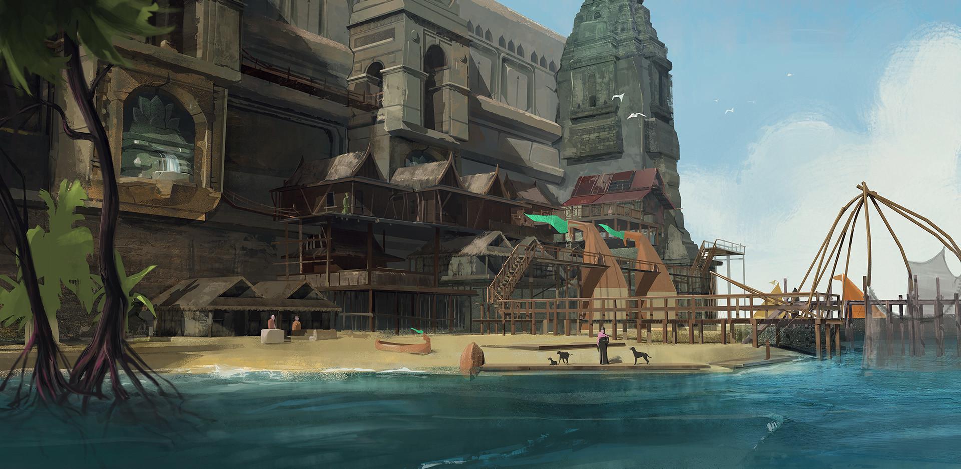 Artstation Ancient Seaside Village Reide Perigo