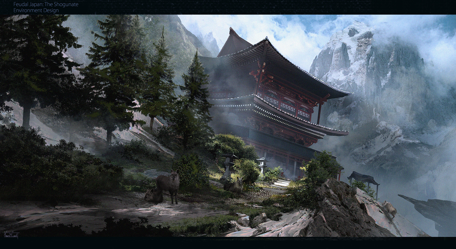 Artstation Cliff Side Home Feudal Japan Travis M Couch