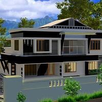 Artstation Stair Room Jaseena Ameer | Stair Room Exterior Design | 3 Floor Building | Box Type | Brick | Open Plan | Amazing