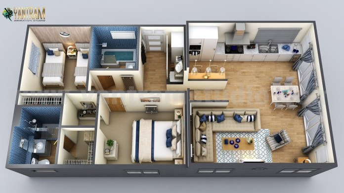 Artstation Modern Small Home Design 3d Floor Plan By Yantarm Architectural Rendering Company Rome Italy Yantram Architectural Design Studio