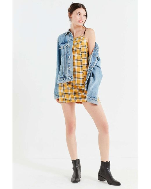 5b6a984c10d3e Urban Outfitters Uo Checkered Mini Slip Dress In Yellow Save