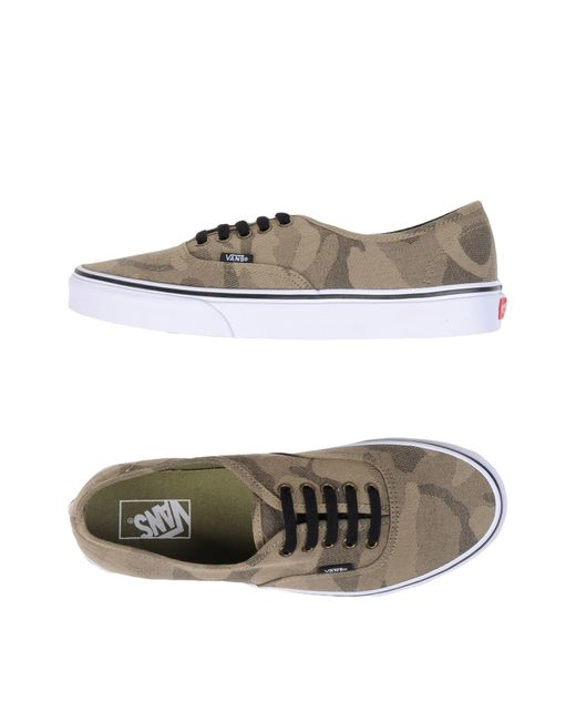 $102 - Jacquard, gabardine, logo, camouflage design, laces, round toeline, fabric inner, rubber sole, flat, lifestyle. Textile fibres. Color: Military green.