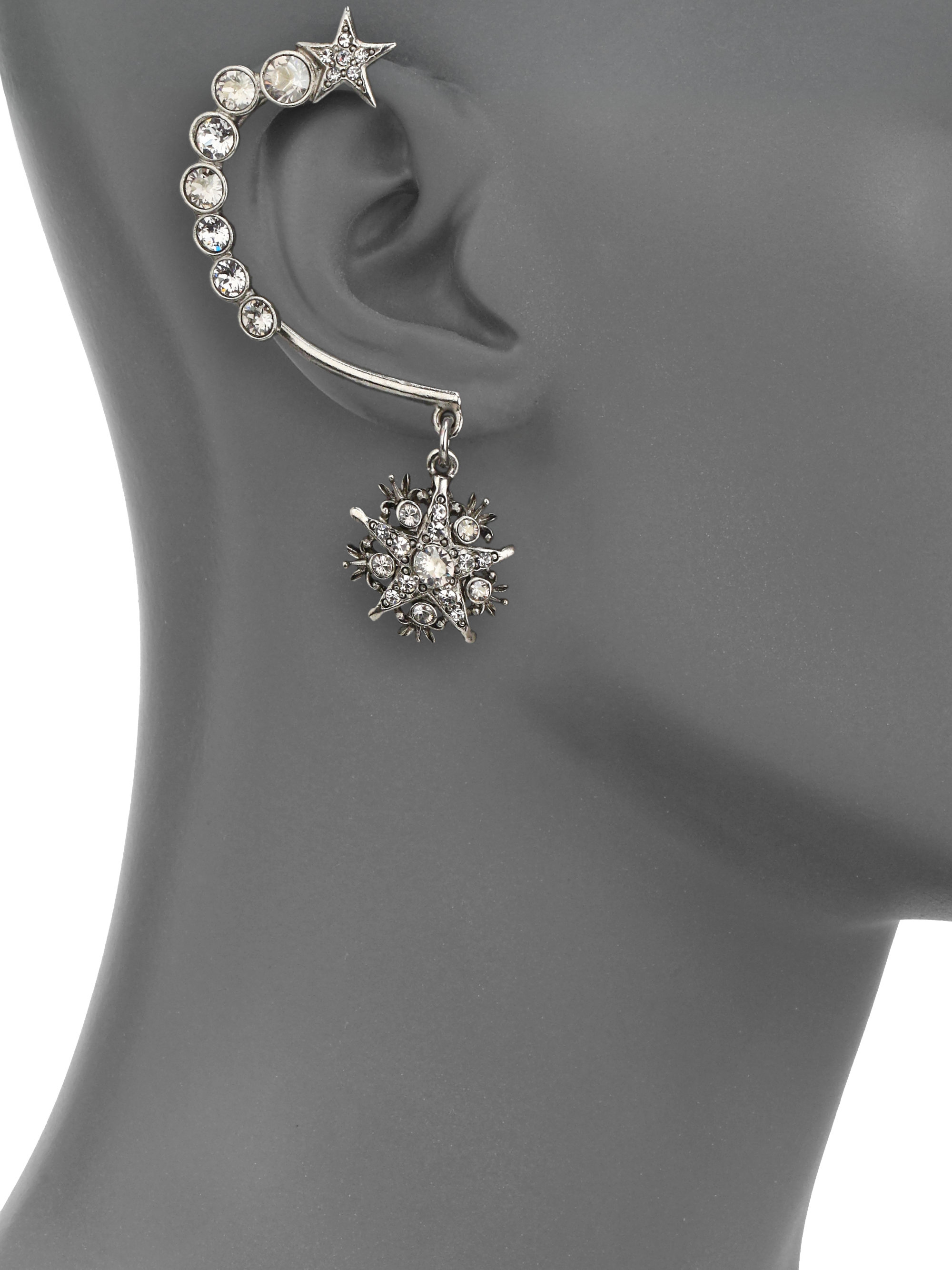 Oscar De La Renta Crystal Embellished Ear Cuff And Stud