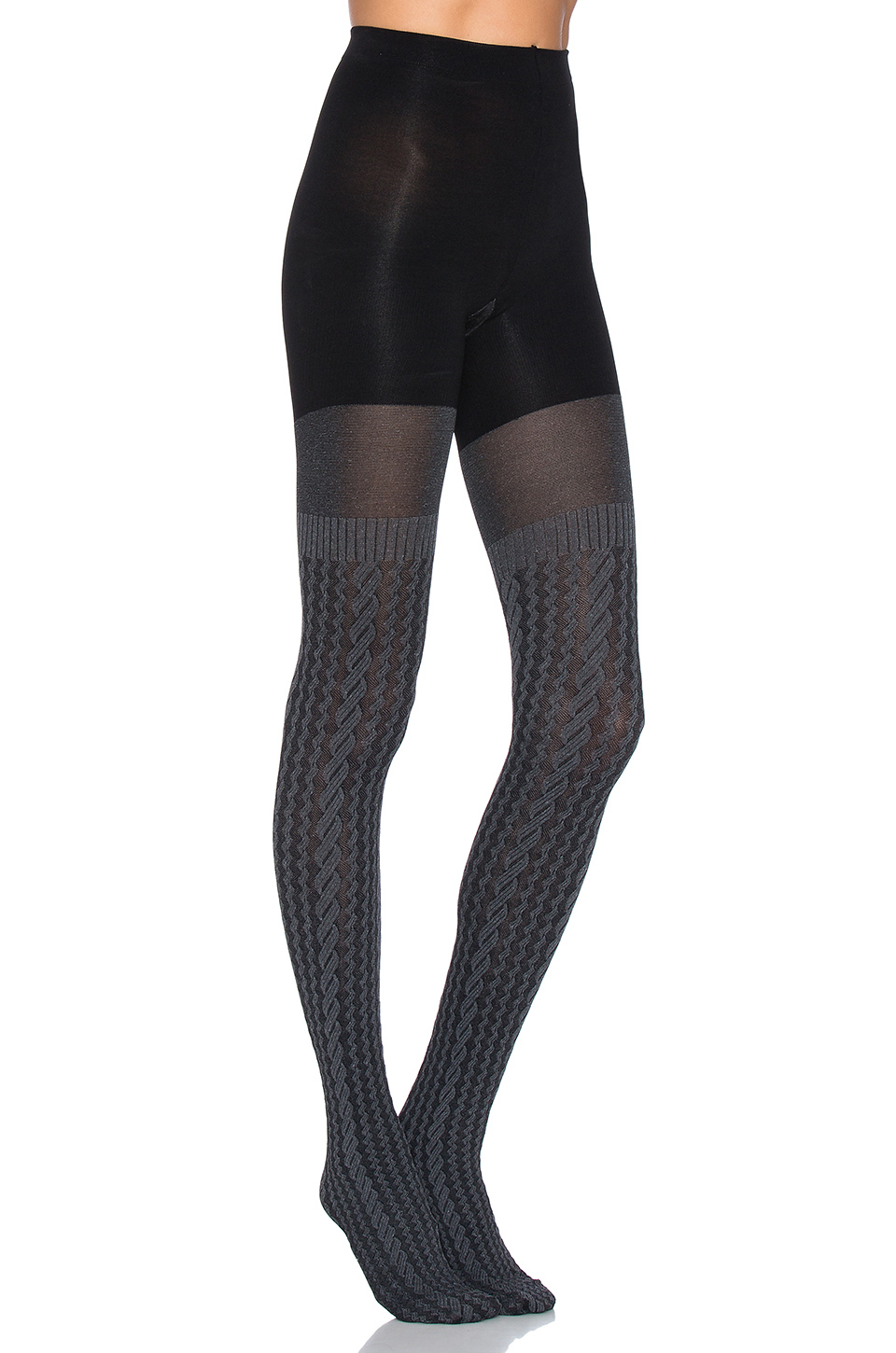 Lyst Spanx Cable Knit Tights In Gray
