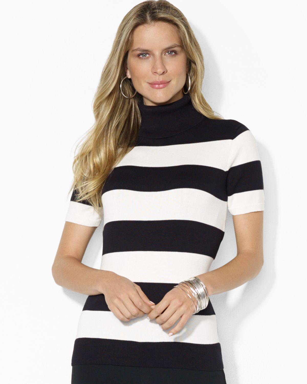 Lyst Ralph Lauren Lauren Short Sleeve Stripe Turtleneck