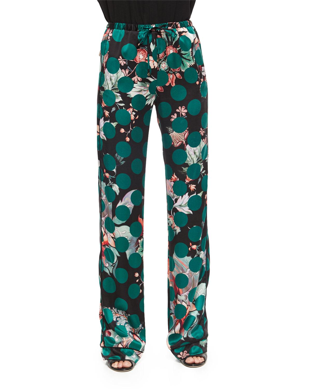 Roberto Cavalli Printed Silk Pajama Pants In Green Lyst
