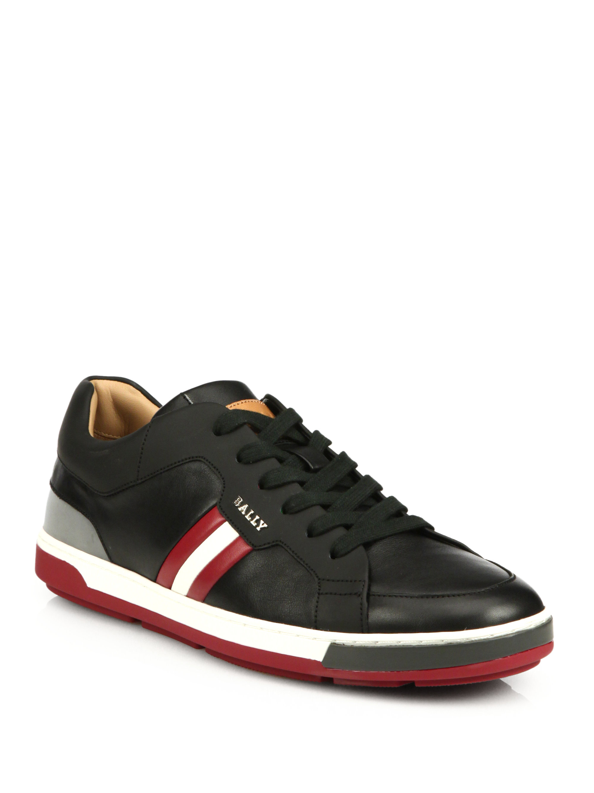 Bally Airone Leather Sneakers In Black For Men
