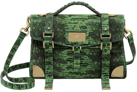 Mulberry Grass Green Lizard Print Leather Travel Day Bag in Green