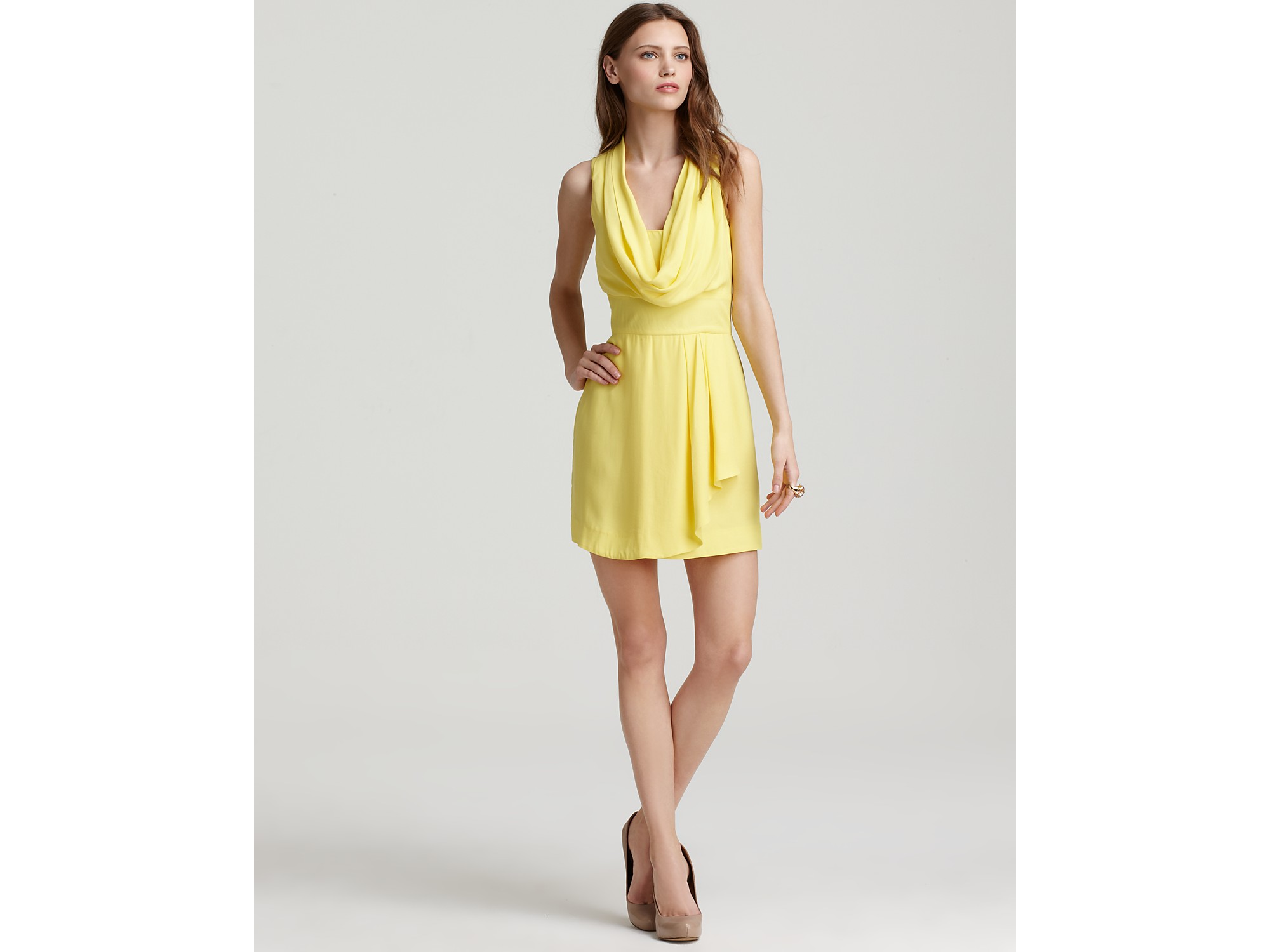 French Connection Cowl Neck Dress Ziona Crepe In Yellow
