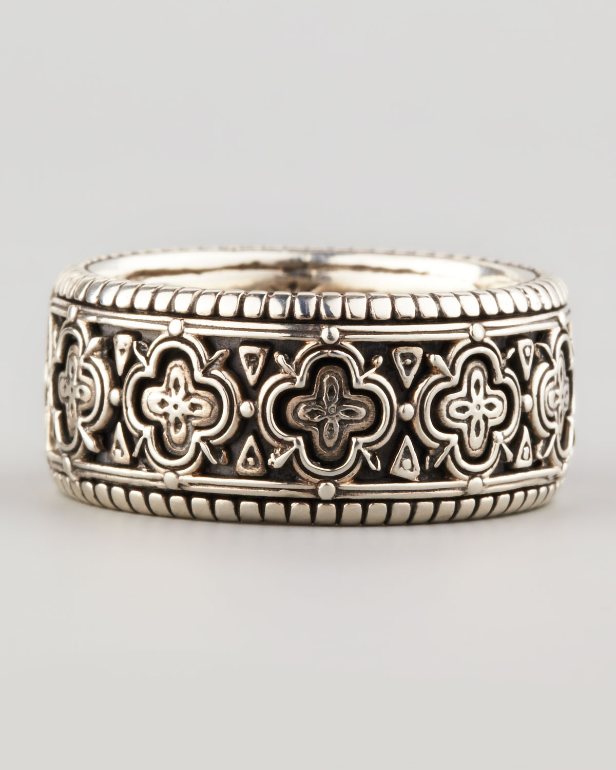 Konstantino Carved Sterling Silver Band Ring In Metallic