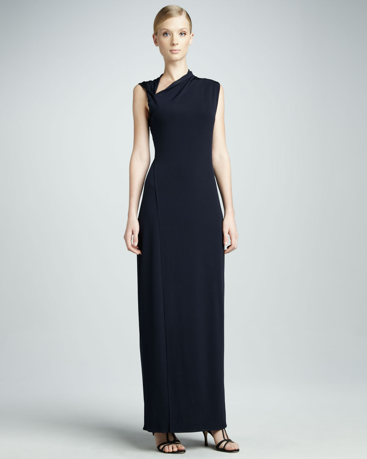 Elie Tahari Jeanie Asymmetric Maxi Dress In Blue Spring
