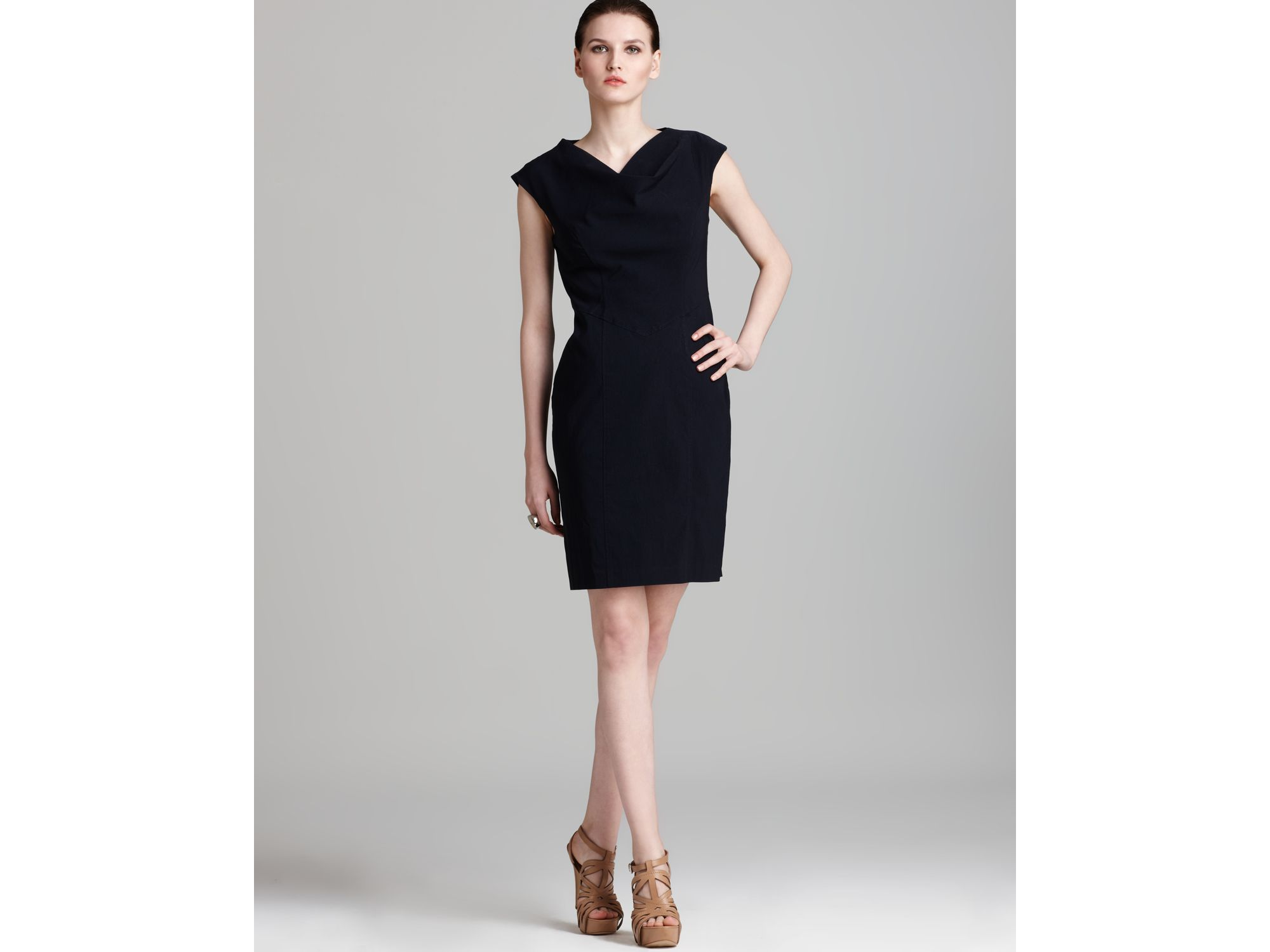 Adrianna Papell Dress Cowl Neck Seamed In Blue (navy)