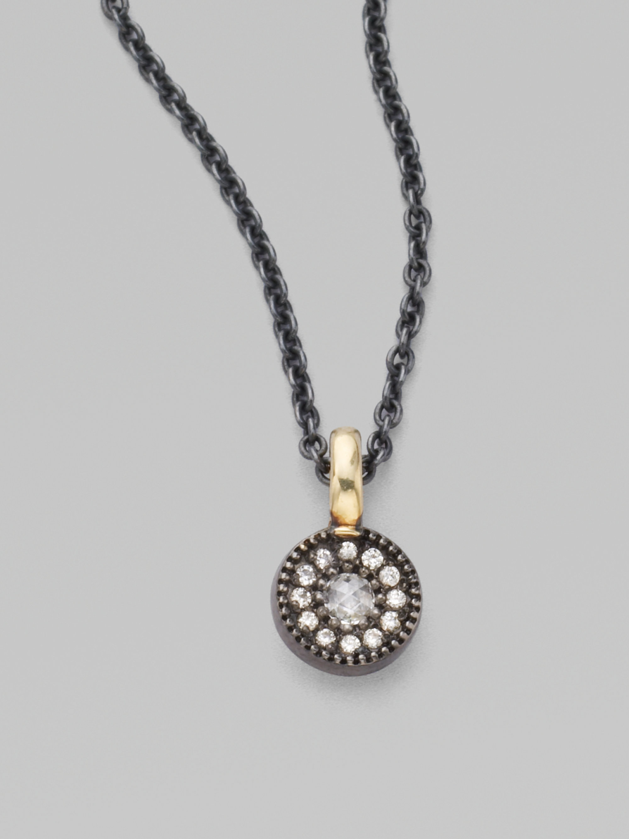 Mizuki Oxidized Sterling Silver Diamond Evil Eye Necklace