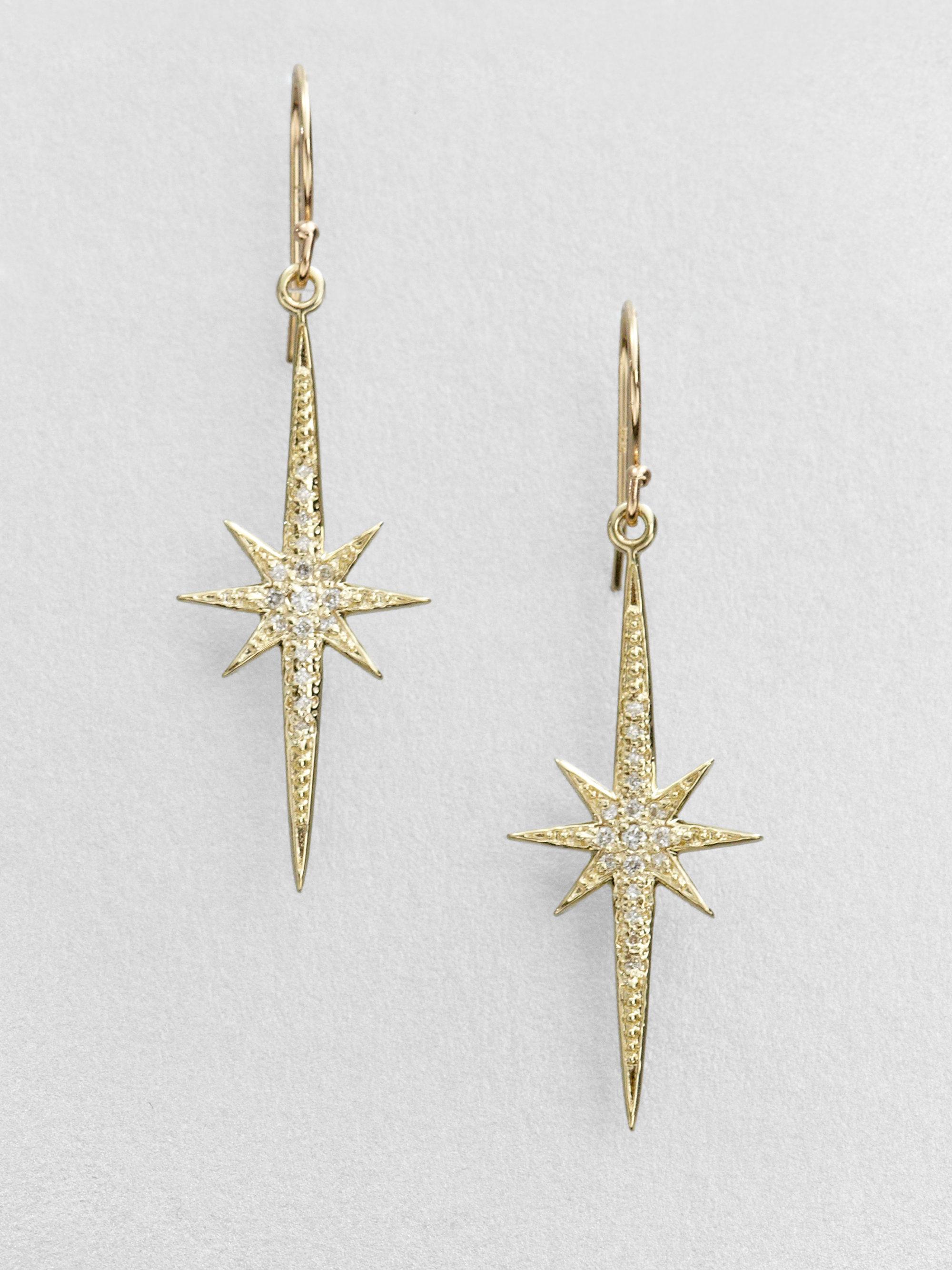 Mizuki Diamond 14k Gold Starburst Drop Earrings Lyst