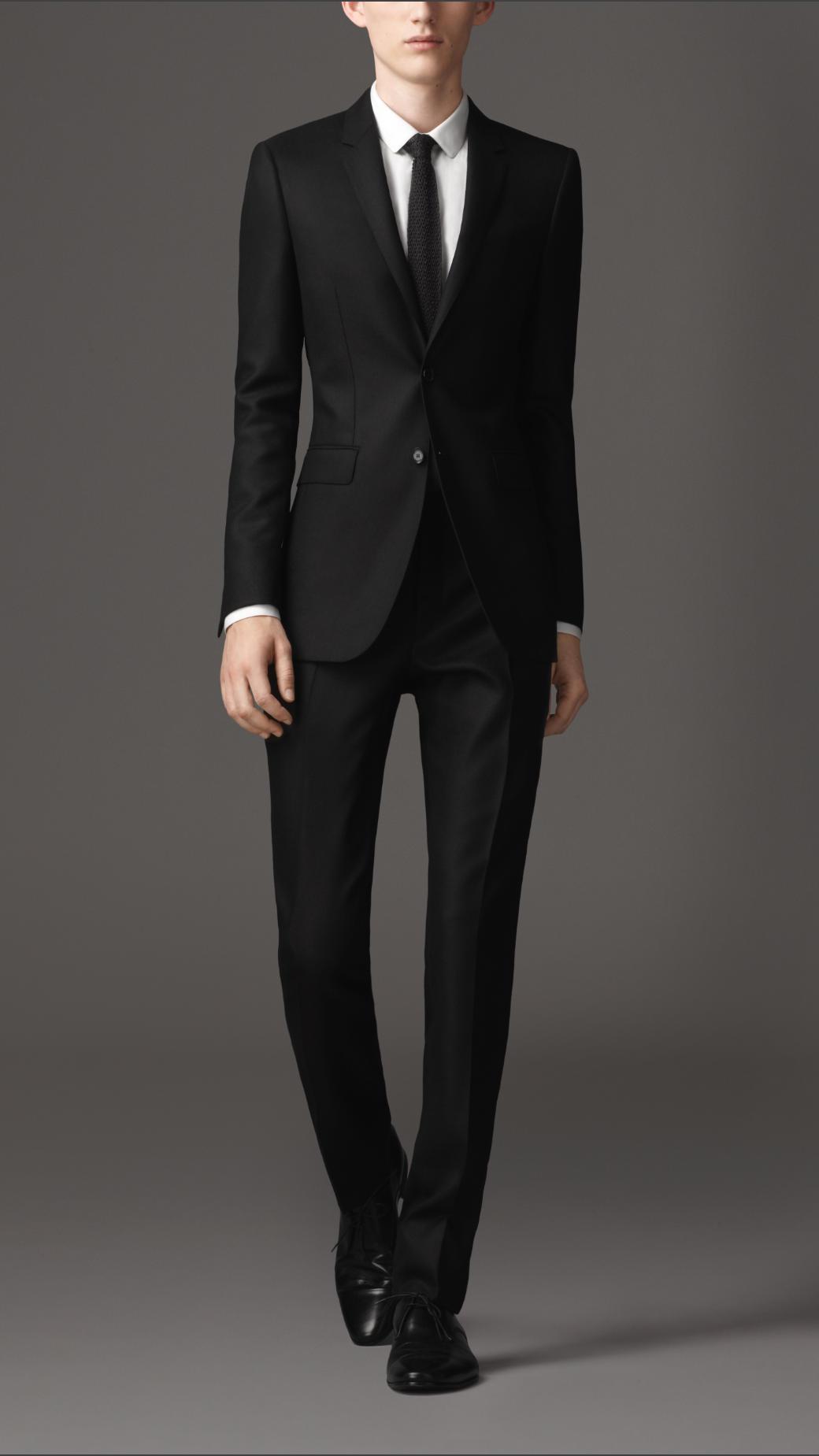 Burberry Slim Fit Hopsack Virgin Wool Suit In Black For Men Lyst