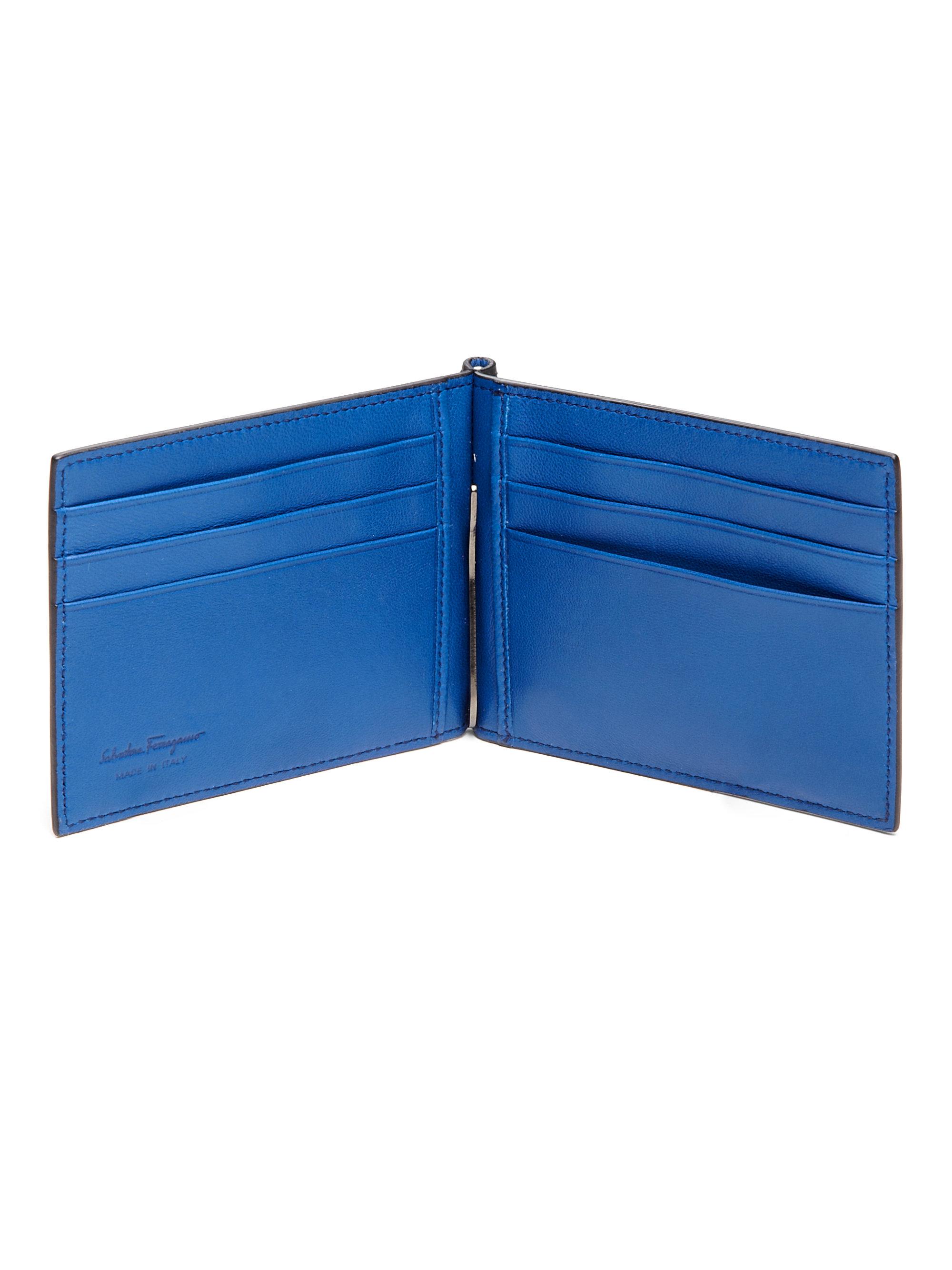 Ferragamo Leather Money Clip Wallet In Blue For Men Lyst